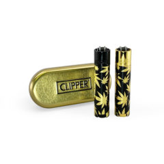Clipper Full Metal Leaves Gold Lighters